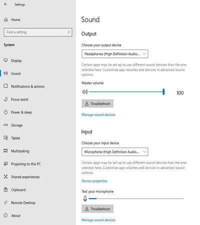 go to the audio settings